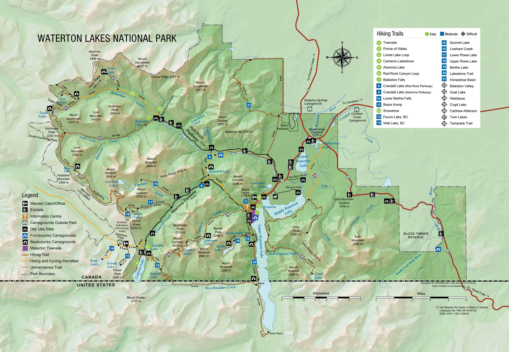 Skyline Hikers Of The Canadian Rockies - Us and canada national parks map